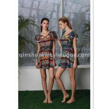 Conjoined body style fashion swimsuit small bosom gather hot spring swimsuit female