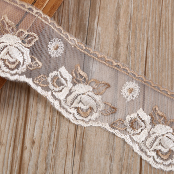 Factory direct mesh gold embroidery lace costume jewelry accessories