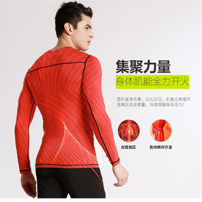 2017 new men's tight fitting training sports fitness running long sleeved elastic fast dry clothes