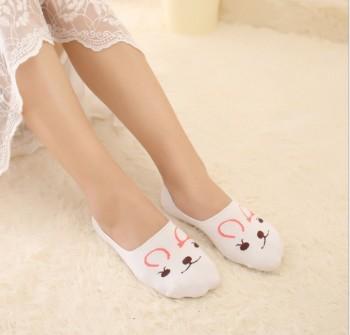 Spring and summer ladies boat socks slip silicone invisible socks cotton socks wholesale cartoon