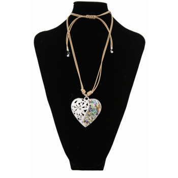 Long rope Heart Pendant color sweater chain