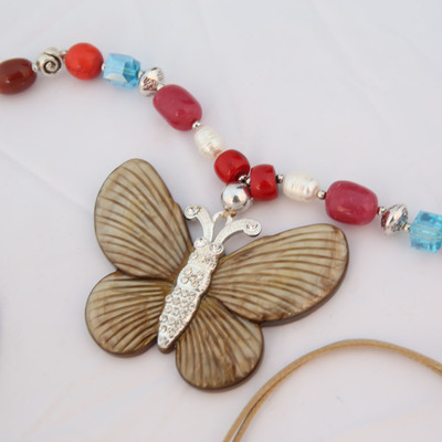Long Beaded Butterfly Pendant sweater chain
