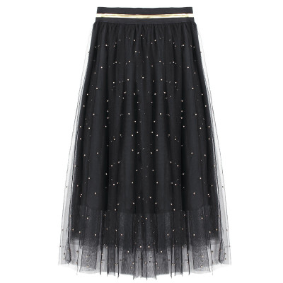 Di Baoli Couture all-match Gold Beaded Black waisted skirt.