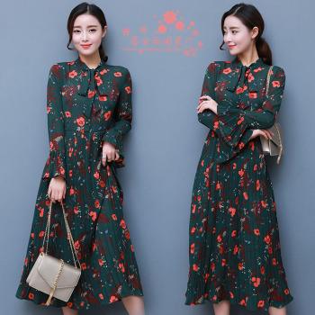 Di Baoli new sleeve sleeve Print Chiffon Pleated Dress Dress