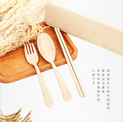 6060 wheat straw environmental protection portable gift tableware set food grade degradable spoon fork chopsticks th