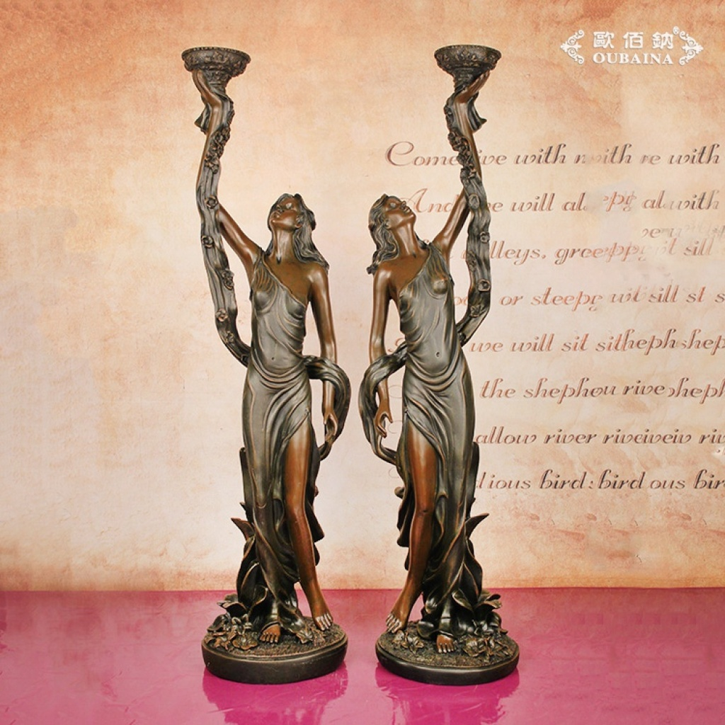 欧式复古树脂工艺美女蜡烛台创意家居饰品摆件
