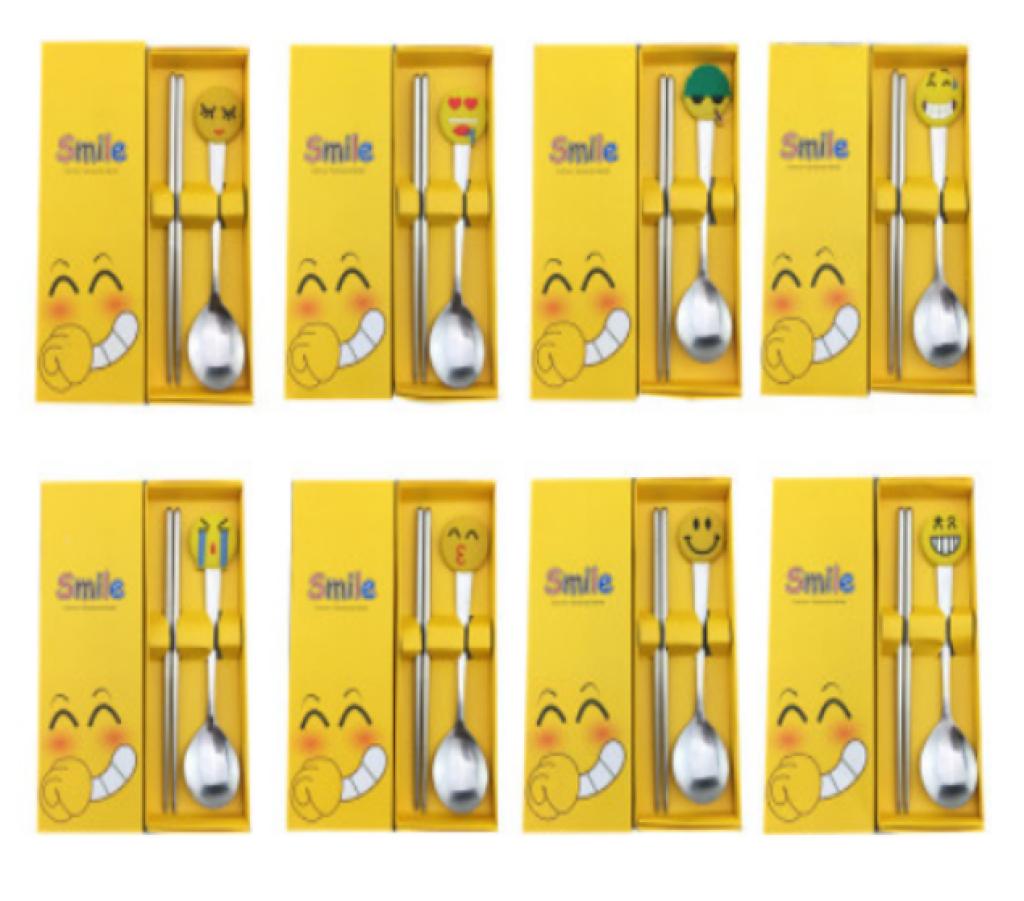 创意不锈钢qq表情系列 笑脸卡通餐具两件套