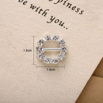 The new DIY crafts wholesale diamond clasp round diamond buckle alloy ribbon garment accessories jewelry accessories