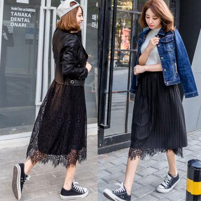 Tiberian autumn and winter women Korean wild two sides wear lace lace skirt skirt skirt