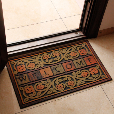 Color stone doormat mat rubber pad by flocking