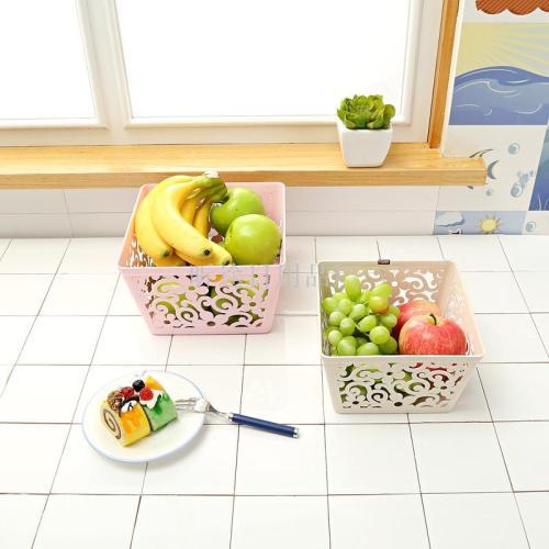 Clover square box storage basket fashion hollow pattern storage basket color plastic storage basket