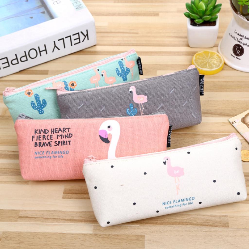 韩国 新款 可爱小鸟倒梯形笔袋 火烈鸟文具袋学生文具