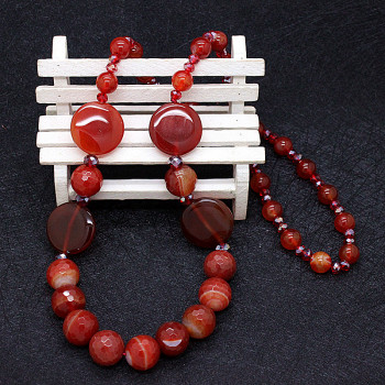 All Handmade high-grade natural red agate agate long sweater chain necklace all-match luxury temperament woman