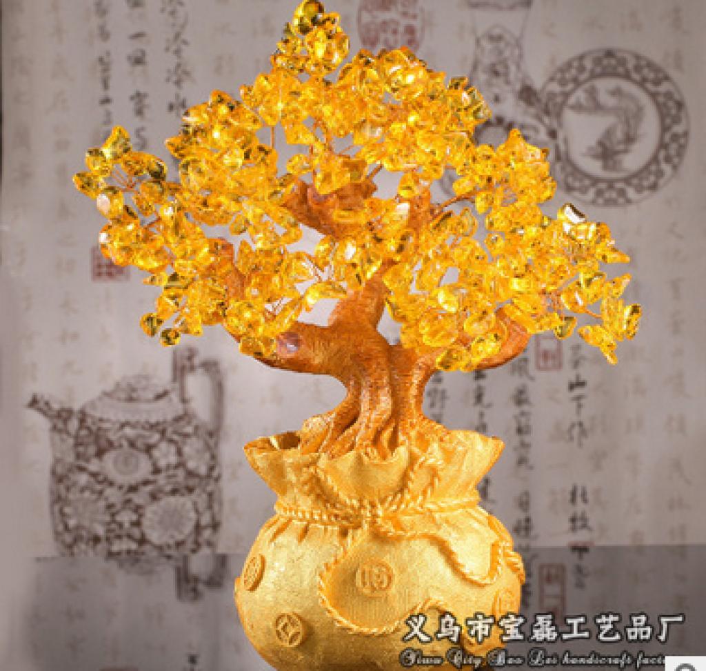 黄水晶发财树,招财树,摇钱树