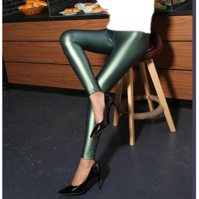 Europe PU feet pencil pants Leggings color leather pants