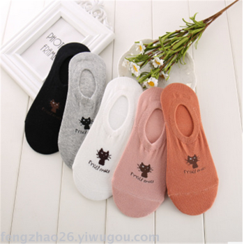 Pure cotton thin sweet cat hidden socks spring and summer socks
