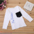 style long-sleeve T-shirt for boys and girls comfortable round collar English printed cotton T-shirt children's wear.