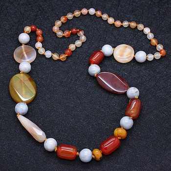 Natural red agate handmade sweater chain necklace with high-end accessories female
