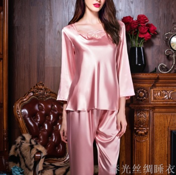 Spring and autumn new pajamas imitation silk ladies long sleeve leisure  home suit