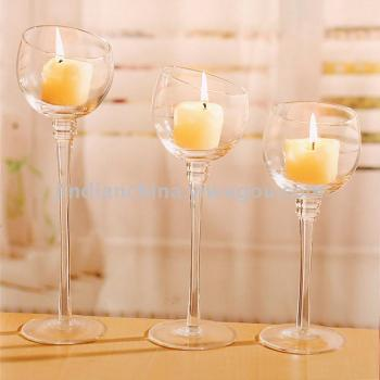 Factory direct European transparent glass candle Taiwan Creative romantic fashion high goblet