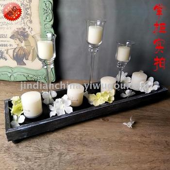 Factory direct European transparent glass candle stand fashion high goblet