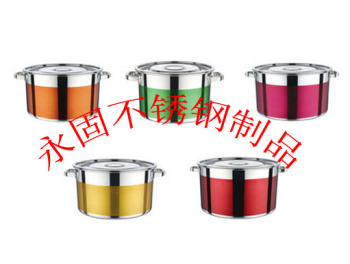 Colorful stainless steel square ear oblique pot