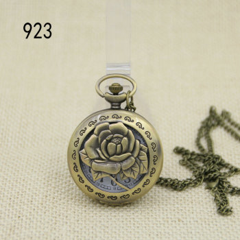 Retro quartz rose quartz watch flip large Pocket Watch Necklace Watch and watch