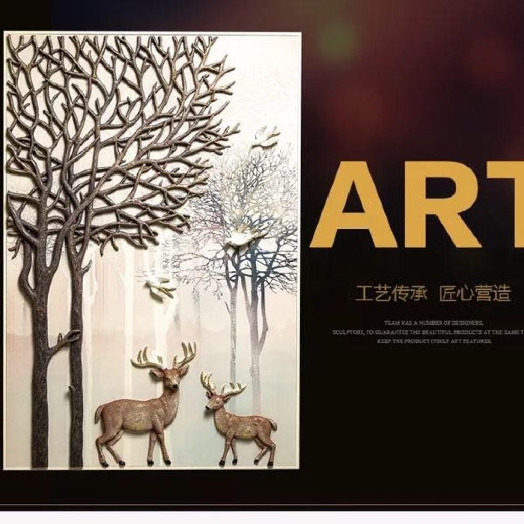 立体浮雕装饰画 玄关画 麋鹿图案