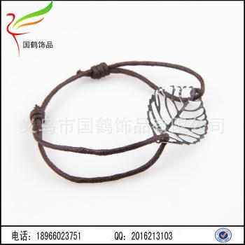 蜡线松紧树叶编织手链红绳手链编法