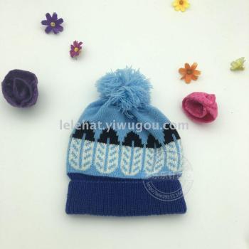 热卖款针织儿童帽子宝宝翻边帽子树叶毛线帽