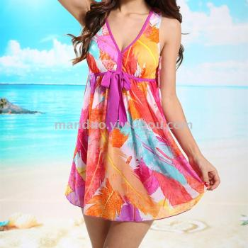 Fashion printing thin two sets of swimsuit ladies fashion hot spring bathing suit