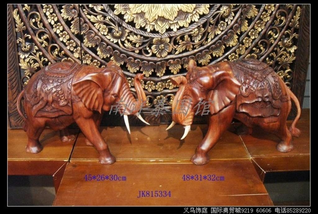 东南亚风格新中式泰式实木木雕大象摆件
