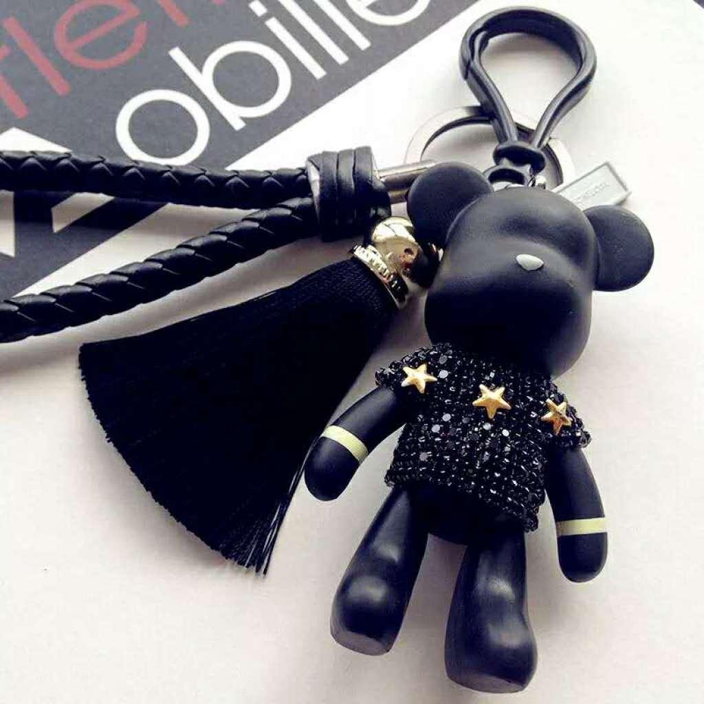 新镶钻暴力熊钥匙扣可爱韩国汽车链创意卡通公仔情侣包包挂件