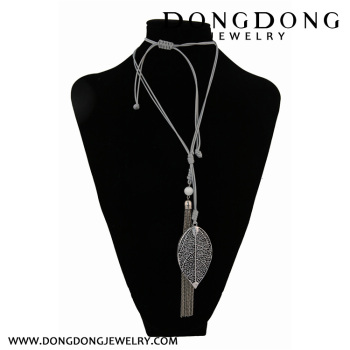 Plastic fashion long rope Aluminum Alloy leaves alloy tassel sweater chain
