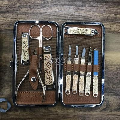 High grade stainless steel nail clipper set beauty nail set 10 sets of gifts