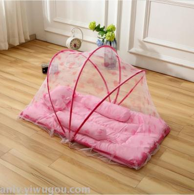 Folding baby mosquito net children free installation with a pillow bottom landing crib mosquito net rotation nets