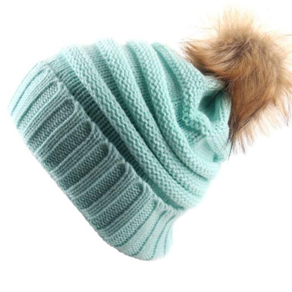 欧美时尚流行针织帽毛球帽子反口帽