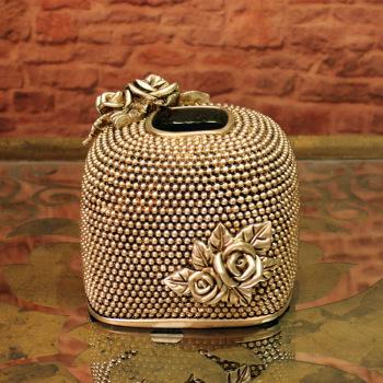 欧式树脂工艺品家居摆件 玫瑰雕花纸巾盒抽纸筒软装饰品 厂家现货