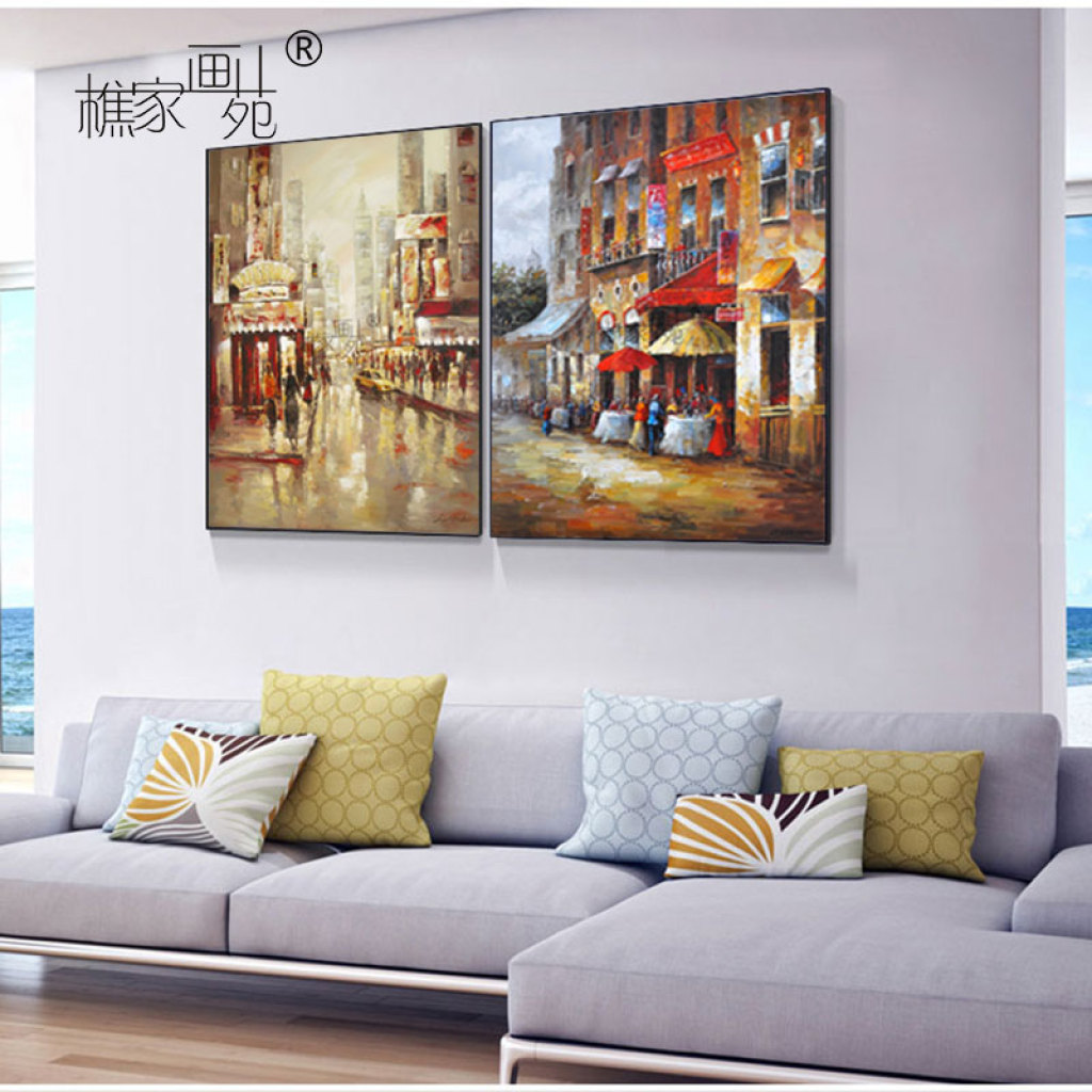 樵家画苑纯手绘油画客厅沙发背景墙挂画欧式简约街景挂画