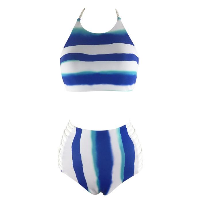 17年新款手工编织分体泳衣 加肥加大女士比基尼高腰女游泳衣