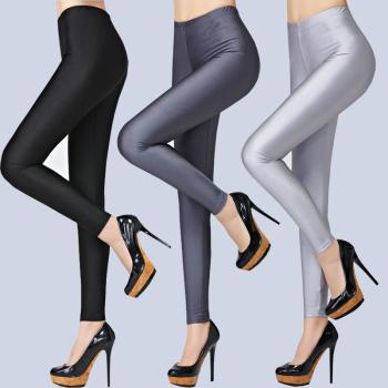 Women New Fashion Black High Elastic Leggings Casual Plus Size Slim Ankle-Length Shiny Pants Sexy Lady Mid Waist Pants