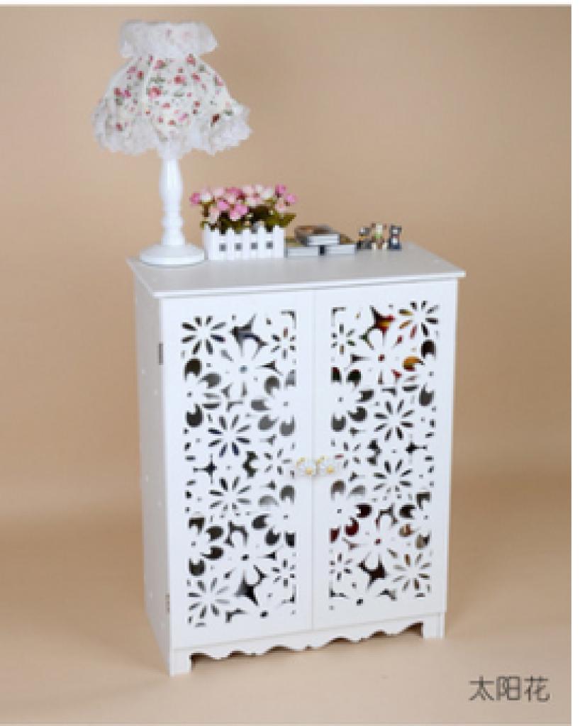 木塑板镂空雕花玄关鞋架 防尘简易鞋柜收纳柜 无漆环保欧式