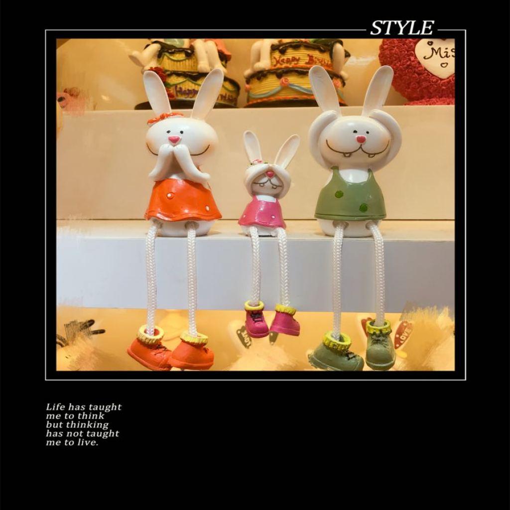 创意客厅电视柜书架摆件工艺装饰品卡通吊脚娃娃结婚