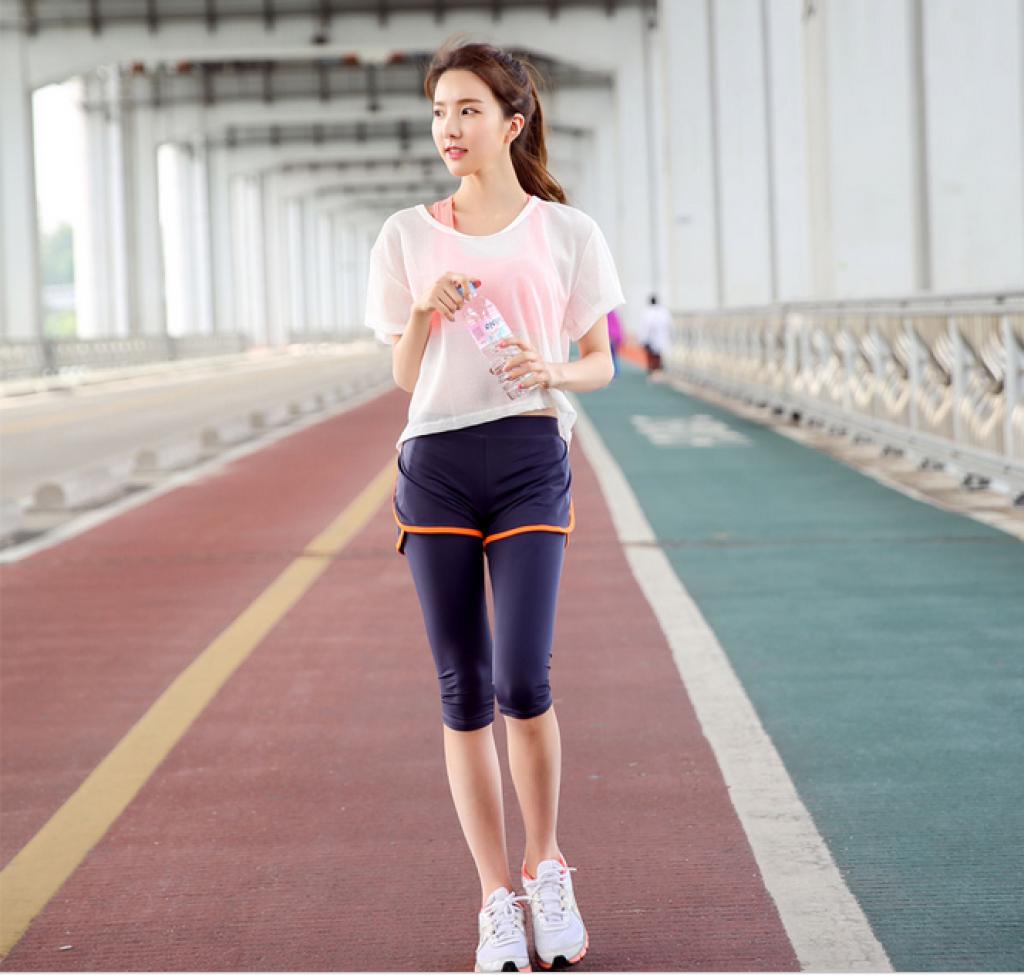 韩国夏季新款瑜伽服健身服女网纱小罩衫透明感运动短袖跑步瑜伽服
