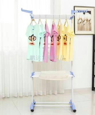 Three floor type towel rack balcony outdoor clothes hanger outdoor push and pull clothes hanger