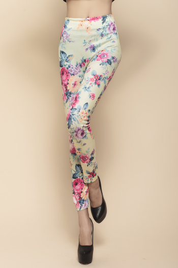 Yellow flower seamless printed Leggings all-match classic models