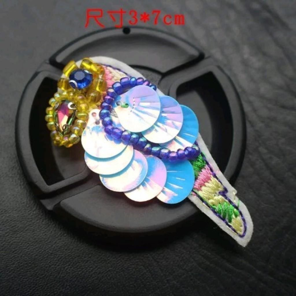 小鸟手工串珠装饰,五角星,刺绣亮片花,流苏胸针,鞋