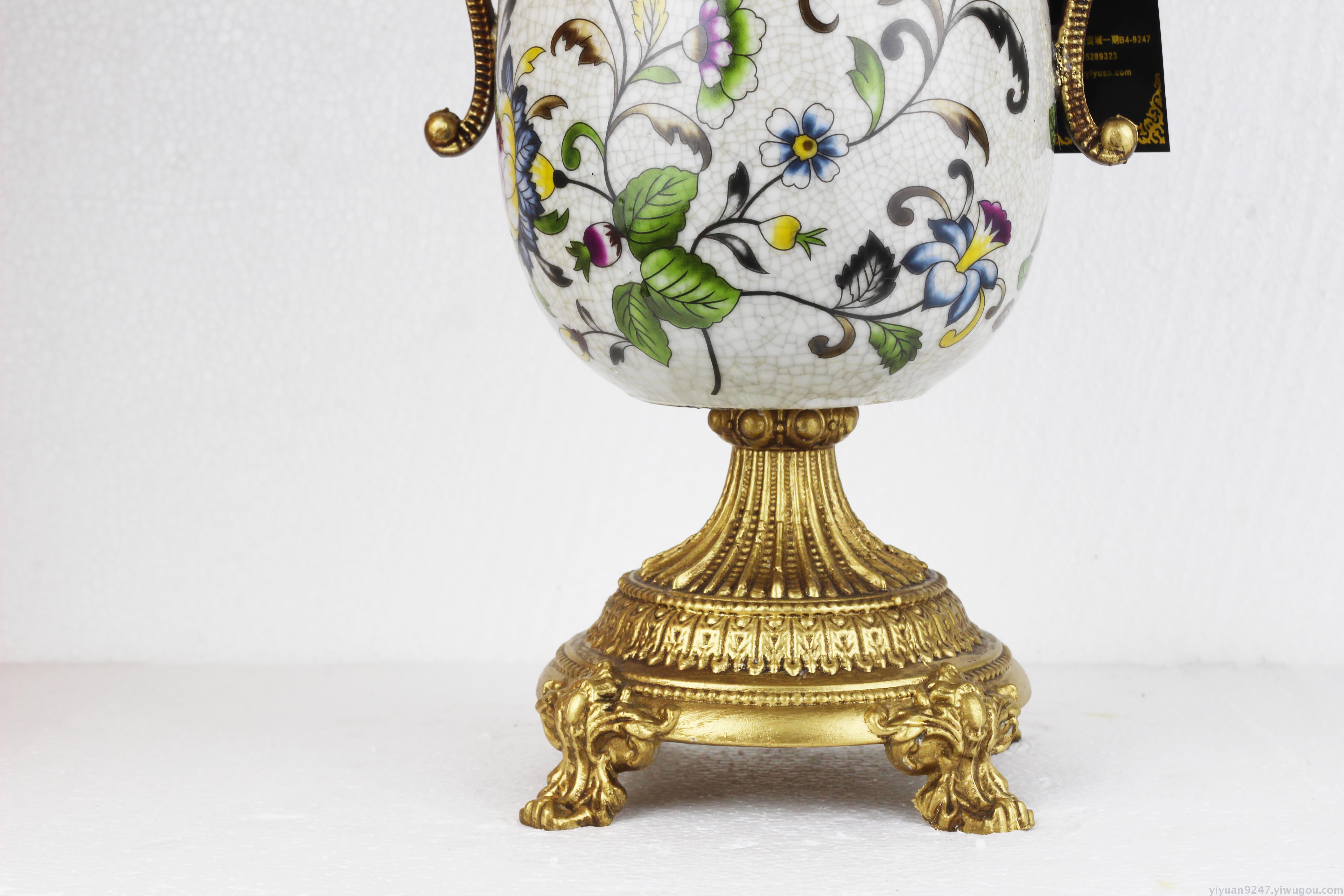 欧式宫廷复古奢华客厅摆件 玄关花瓶彩绘陶瓷合金摆件