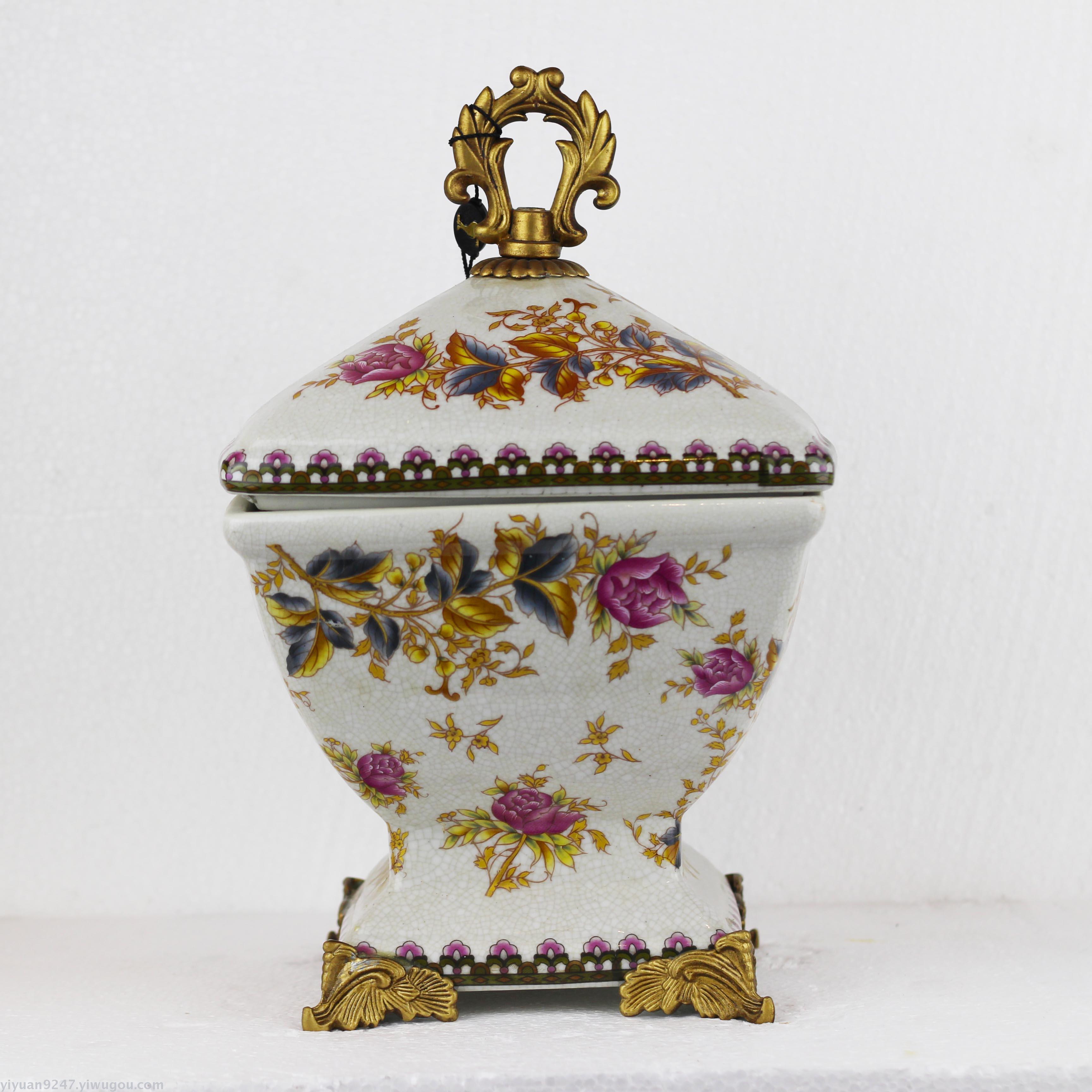 复古奢华宫廷糖果罐 陶瓷装饰品工艺品
