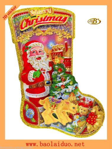 The new three-dimensional Christmas socks stickers BJ788